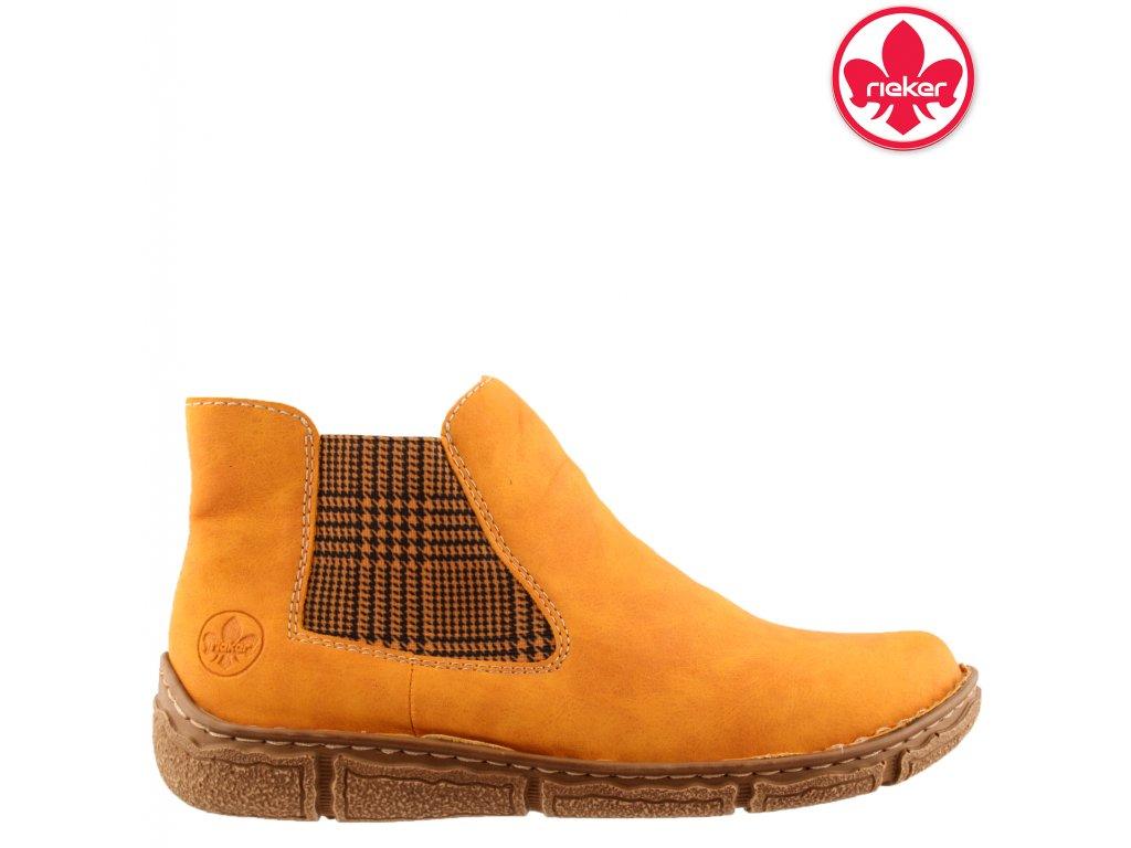 Dámské žluté kotníkové chealse boty farmery Rieker Z3794-68 sleva 991680