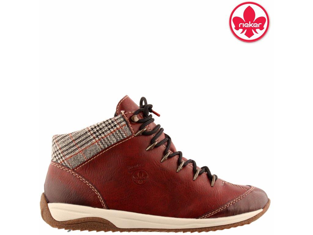 Dámské červené kotníkové boty Chelsea boots Rieker L5249-36 sleva 991641