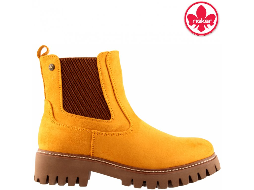 Dámské žluté kotníkové chealse boty farmery Rieker 91474-68 sleva 962356