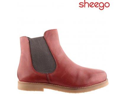 Dámské kožené kotníkové boty chelsea s gumou a zipem Sheego 84545645