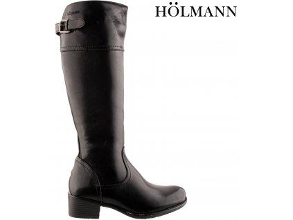 Polohovací černé přizpůsobivé vario kozačky na podpatku se zipem Holmann 953048060