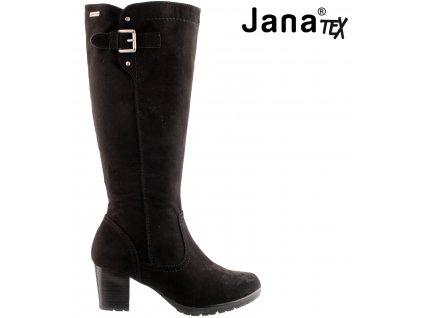 Černé nepromokavé dámské kozačky na podpatku JANA  výprodej 85293928