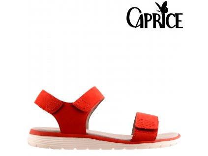 Červené kožené dámské sandály suchý zip tři pásly 9-28608-24-544 Caprice Sleva 49107329
