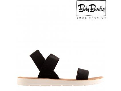 Černé páskové dámské letní sandály na klínku s gumou Betty Barclay 12853443
