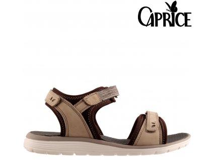 Béžové kožené dámské polohovací letní sandály 9-28606-24 Caprice Sleva 93042823