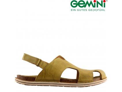 KOŽENÉ olivové dámské sandály Stélka anatomicky tvarovaná Geminy 74844449