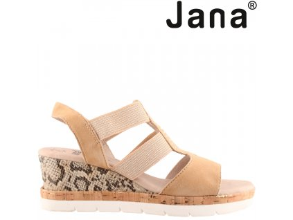 Béžové KOŽENÉ páskové letní dámské sandály na klínku Jana 8-28311-24 sleva 79637524 Šíře H