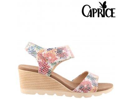 Kožené barevné sandály na klínku CAPRICE Sleva 50388817