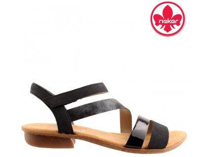 Dámské lakované sandály na nízkém podpatku na suchý zip Rieker V0473-14 sleva 24493707