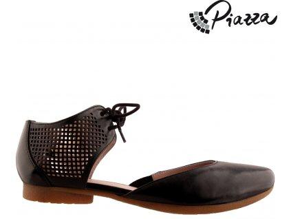Dámské kožené černé sněrovací lodičky sandály na nízkém podpatku PIAZZA výprodej 840760