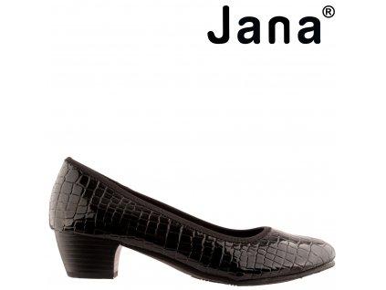 Černé lakované lodičky na nízkém podpatku Jana 8-22360-25 091 Sleva Stélka šíře H