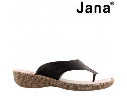 Dámské kožené černé zdravotní nazouváky mezi prst JANA 8-8-27113-22 anatomická stélka výprodej 59472750