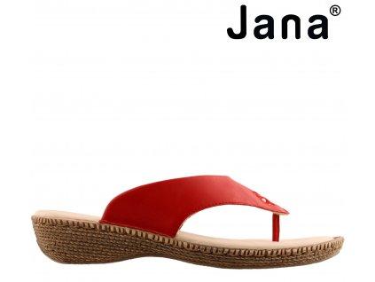 Dámské kožené červené zdravotní nazouváky mezi prst JANA 8-8-27113-22 výprodej 42162536