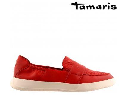 Červené celokožené dámské mokasíny na klínku Tamaris 1-24704-24 515 Sleva