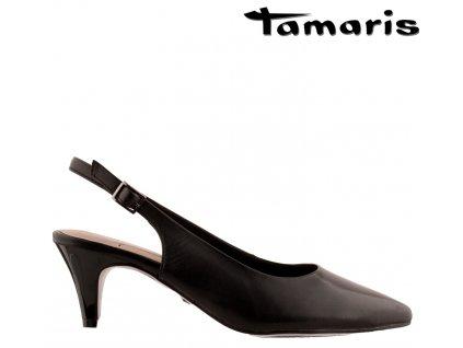 Kožené černé lodičky na podpatku plná špička prázdná pata TAMARIS 1-29617-24 001