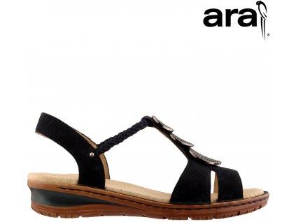 Dámské modré kožené sandály ARA na nízkém klínku 12-27239 Anatomická stélka