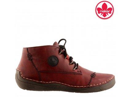 Červené dámské kotníkové boty na nízkém klínku  - RIEKER 52502-35