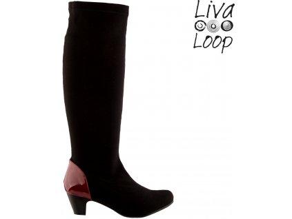 Černé natahovací strečové dámské kozačky na podpatku Liva Loop 62136569