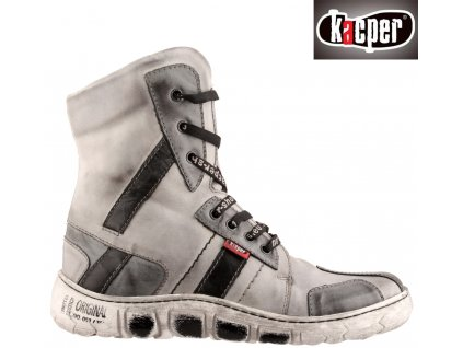 Šněrovací kožené šedé zimní kozačky s kožíškem Kacper 47959126 výprodej