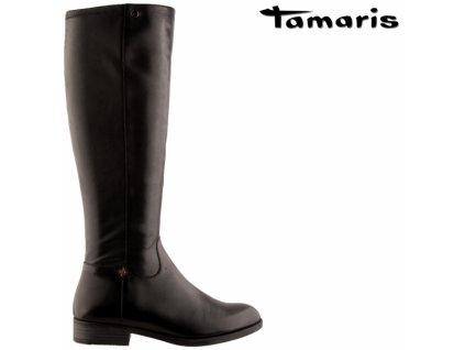 Černé kožené dámské strečové kozačky na podpatku TAMARIS 11-25530-23-001 výprodej 45385536