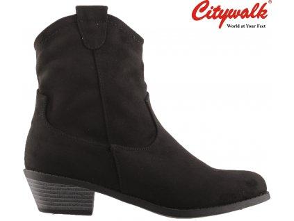 Dámské černé kotníkové kovbojky polokozačky na podpatku CityWalk 97461364