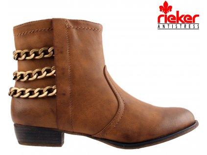 Zateplené hnědé koňak kotníkové boty na podpatku Rieker 961423 se řetězy zlatý odstín