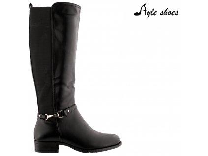 Černé kozačky na podpatku s gumovou vsadkou Style Shoes Paris 7735