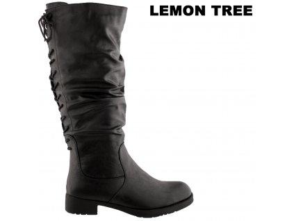 Černé kozačky na podpatku šněrovací lýtko Lemon Tree 914