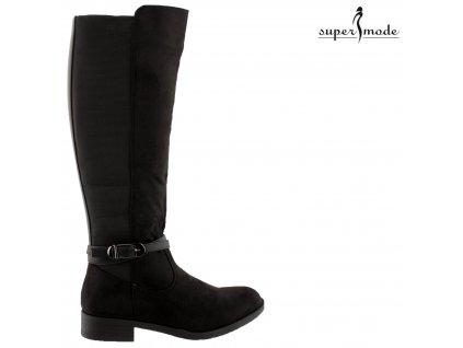 Černé semišové kozačky na podpatku s gumovou vsadkou Style Shoes Paris BJ1539-kb