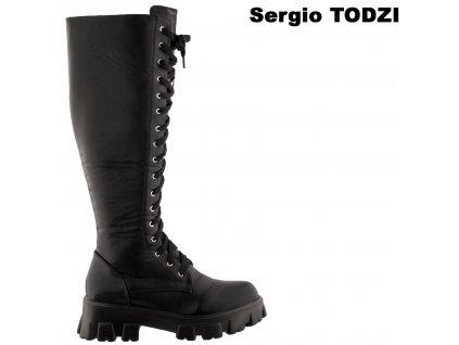 Černé dámské šněrovací kozačky Sergio Todzi GF189A