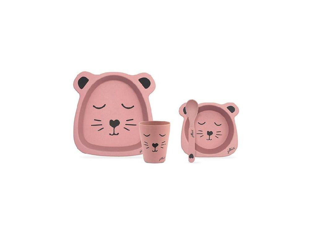 Bambusový jídelní set Animal club pink