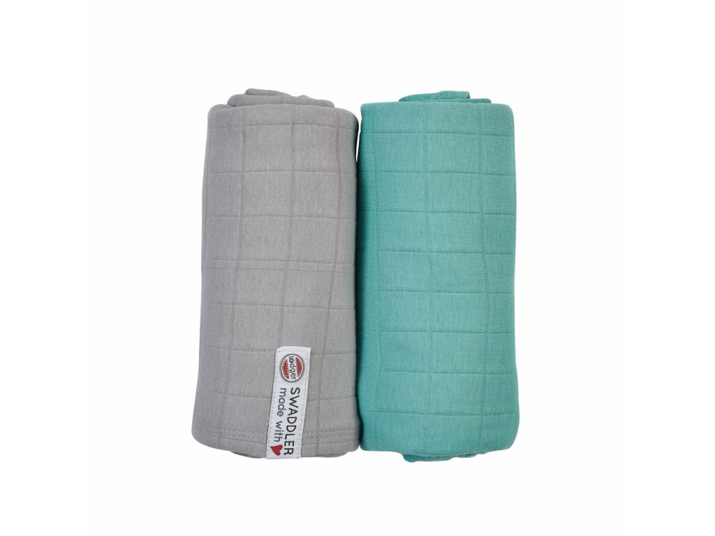 LODGER Swaddler Solid 2balení Mist/Dusty Turquoise