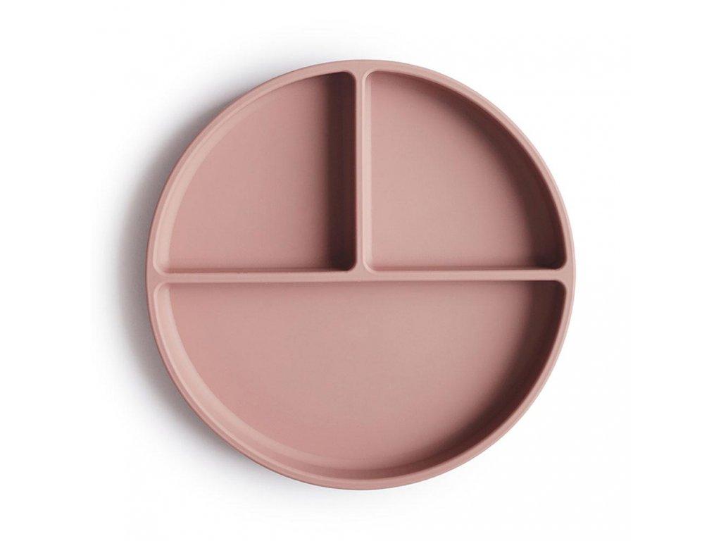 Mushie silikonovy tanier s prisavkou blush