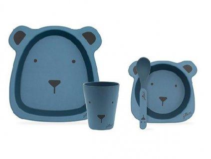 Bambusový jídelní set Animal club blue