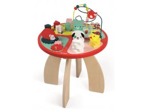 J08018 Dreveny hraci stolik s aktivitami na jemnu motoriku Baby Forest Janod od 1 roka a