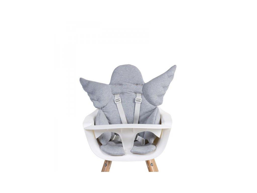 Childhome Podložka s křídly do dětské židle Angel Jersey Grey