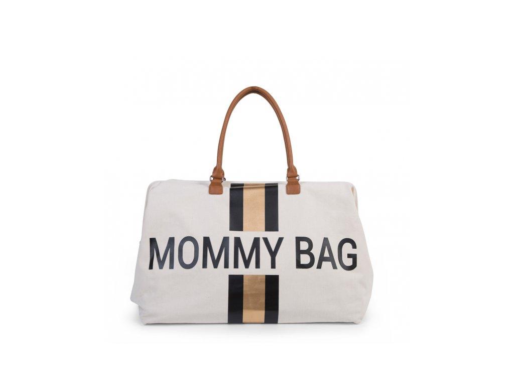 Childhome Přebalovací taška Mommy Bag Big Off White / Black Gold