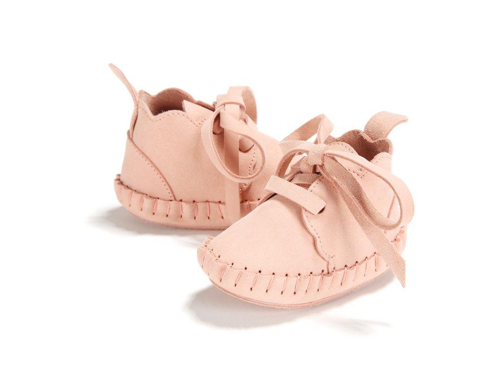 Dětské růžové kožené capáčky Cloudy Moonie's Candy Pink