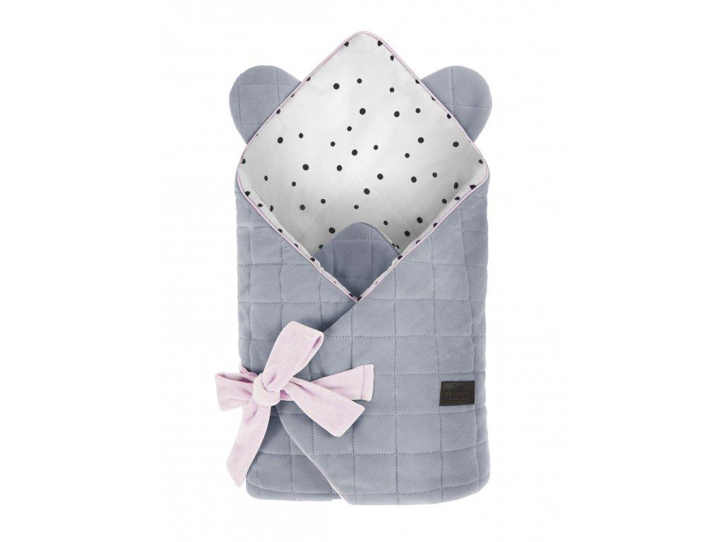 Zavinovačka Sleepee Royal Baby Swaddle Wrap šedá a růžová