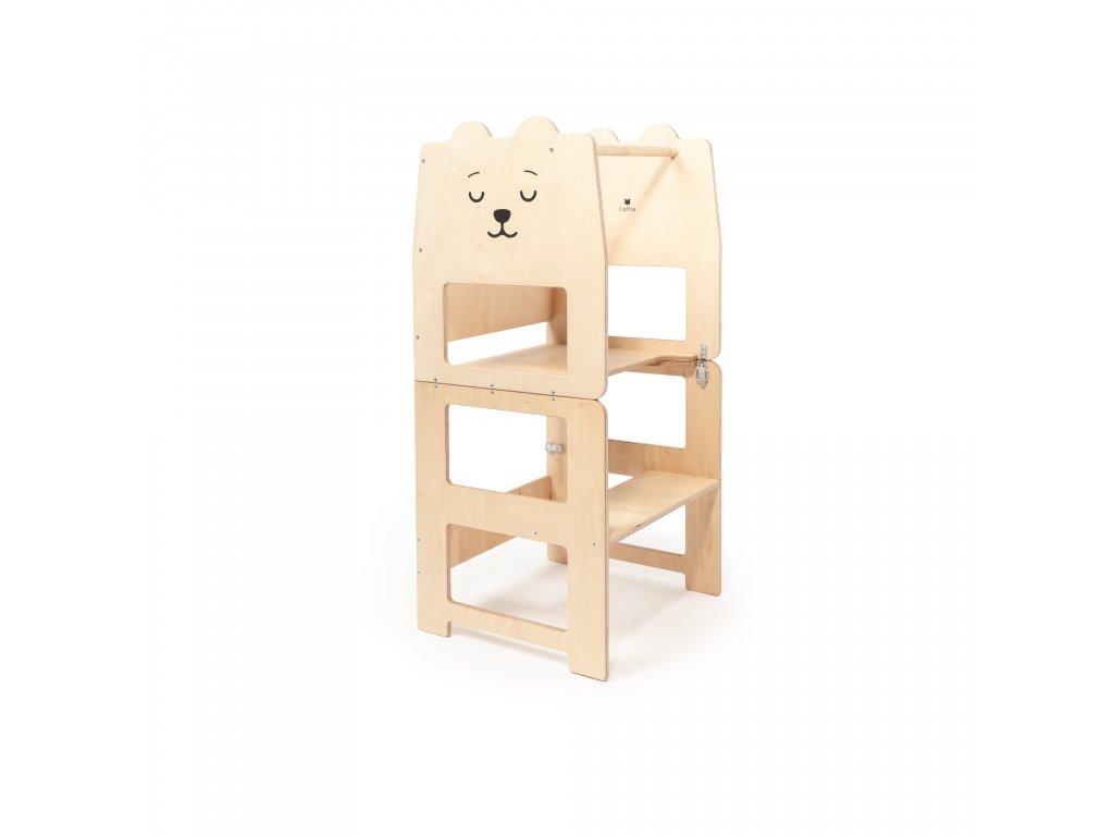Dětská učící věž víceúčelová medvěd bílý by Craffox