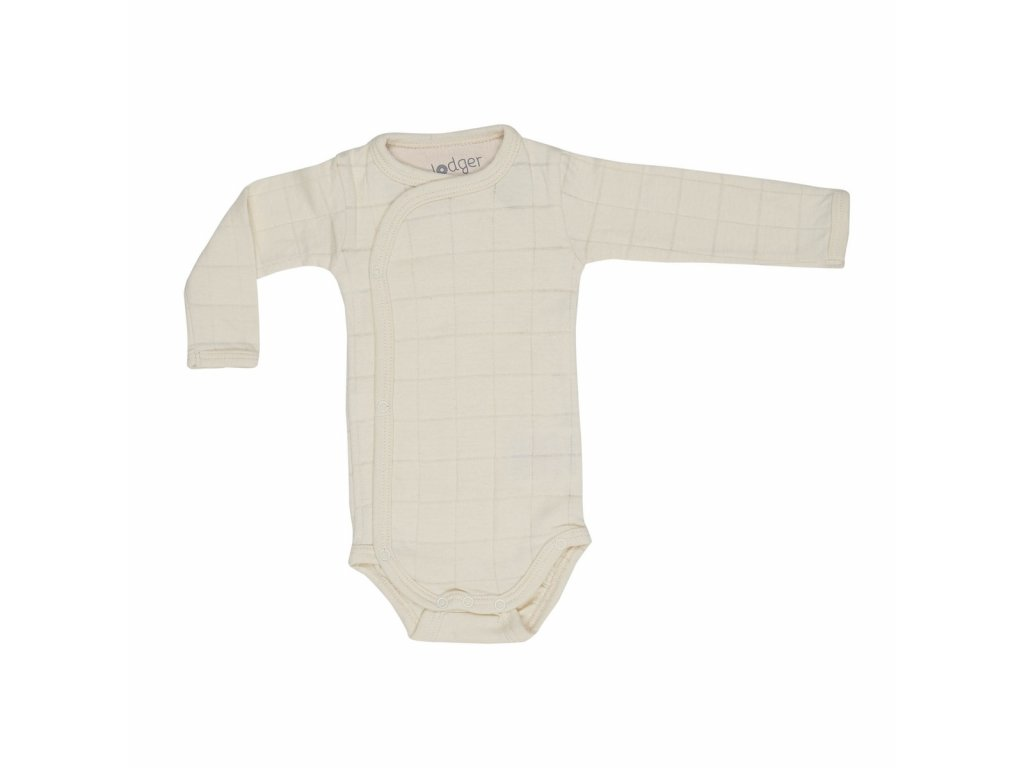 Lodger Dětské body Romper Solid Long Sleeves Ivory 1