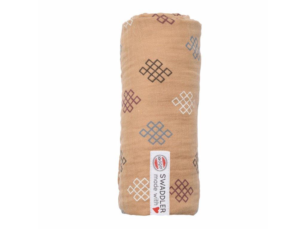 Lodger Látková plena Swaddler Muslin Knot Xandu 120 x 120 cm Honey 1