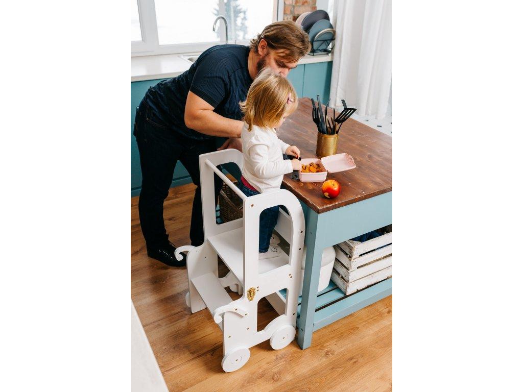 Učící věž 2v1 Trolley by Toddler in Family bílá