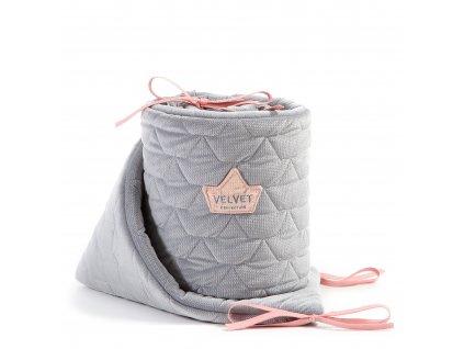 Luxusní mantinel do postýlky La Millou VELVET COLLECTION Dark grey & pink