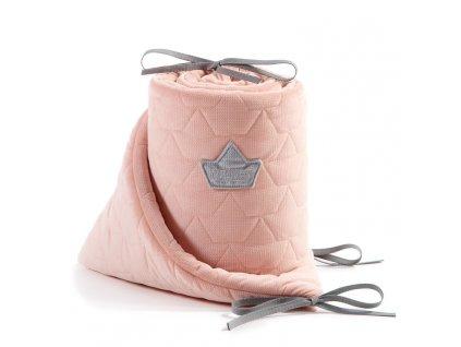 Luxusní mantinel do postýlky La Millou VELVET COLLECTION Powder Pink