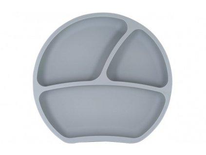 Dětský silikonový protiskluzový talíř tmavě šedý