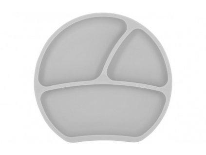 Dětský silikonový protiskluzový talíř šedý