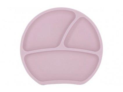 Dětský silikonový protiskluzový talíř růžový Kindsgut