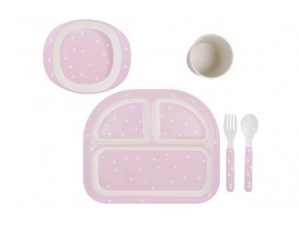 Dětská jídelní sada růžová