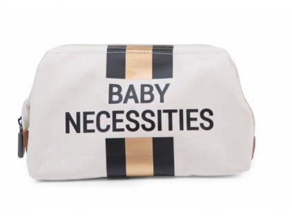 Childhome Toaletní taška Baby Necessities Off White / Black Gold